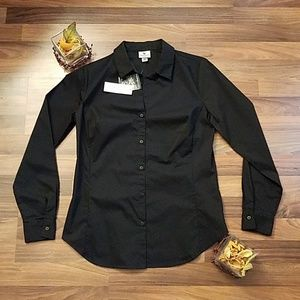 NWT Worthington black button down shirt